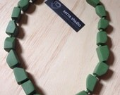 Cubism - Forest Olive colour. Sophisticated geometric beaded necklace. Handmade in Melbourne.