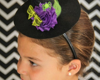 Mini witch hat. Purple and lime green Halloween headband