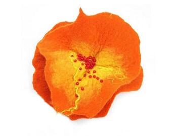 Felted Brooch Nunofelt flower Tangerine nuno felt silk orange folk boho wool victorian fairy