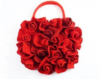 Red Purse Felted Bag Red Bag LITTLE ROSES BAG Felt Nunofelt Nuno felt Silk red ruby burgundy handmade fairy floral fantasy Fiber Art boho