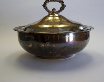 Silver Plated Covered Dish by Leonard Silver, Bowl with Lid, Silver Bowl, Covered Bowl, Silver Dish