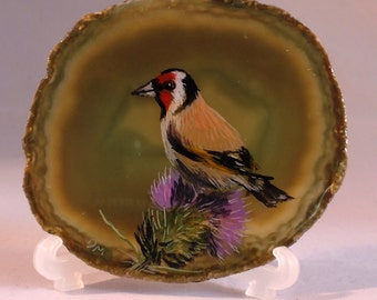 Goldfinch Paining on Agate