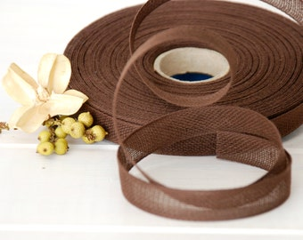 "Chocolate Cotton Ribbon - 3 or 6 Yards of 100% Cotton Ribbon -  1/2"" wide - Brown Ribbon - Buy More and Save - Eco Friendly Ribbons - Brown"