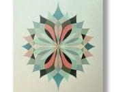 Sacred Geometry Nº7  :  8x10 Modern Art Print | Mandala | Occult | Alchemy | Minimal | Teal | Pink | Tan | Mauve