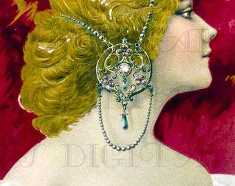 Stunning Jeweled Art Nouveau Lady! VINTAGE Digital ILLUSTRATION. Digital DOWNLOAD. Digital Print. Printable Art Nouveau Image.