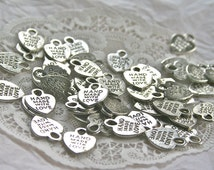 """20 HEART Charms """"Handmade with Love"""" Charms, Antique Silver"""