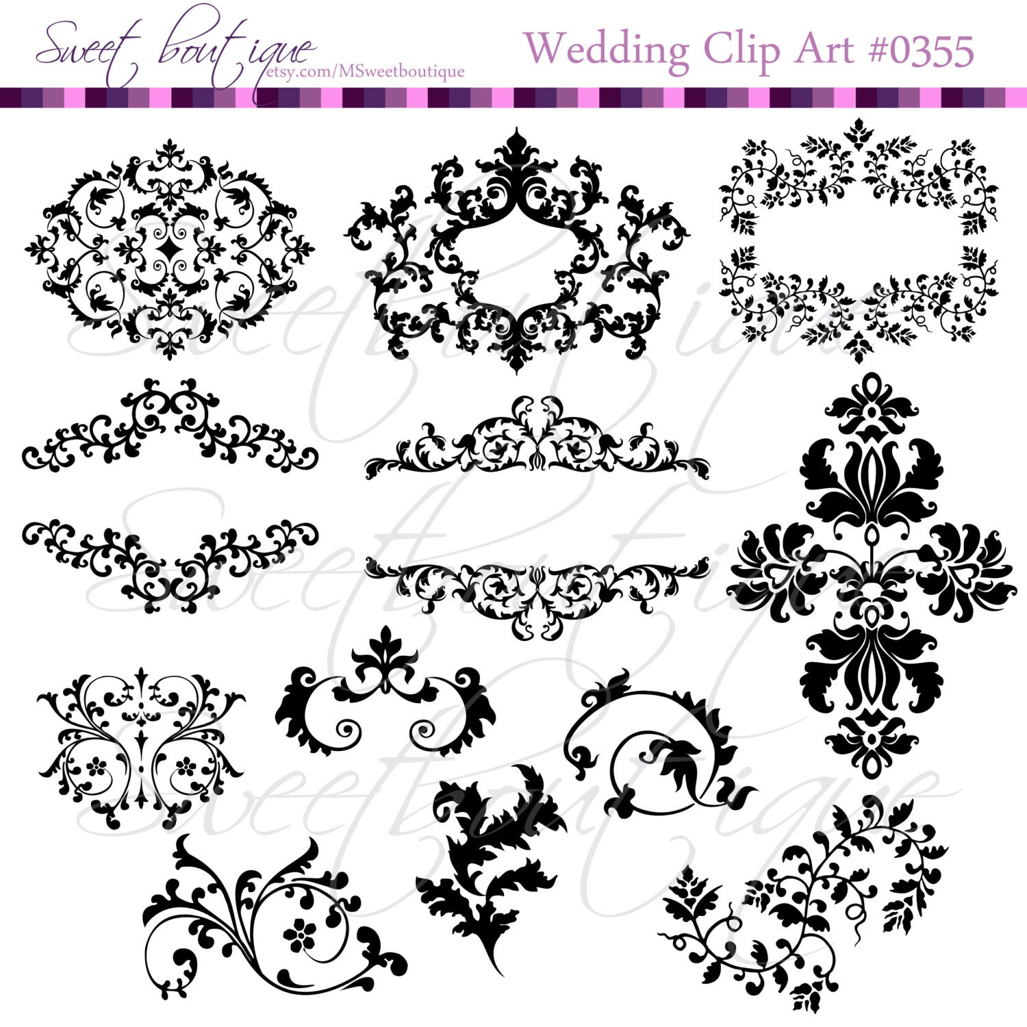 Wedding Clip Art: Wedding Digital Frames Clip Art Clipart Scrapbook Invitation