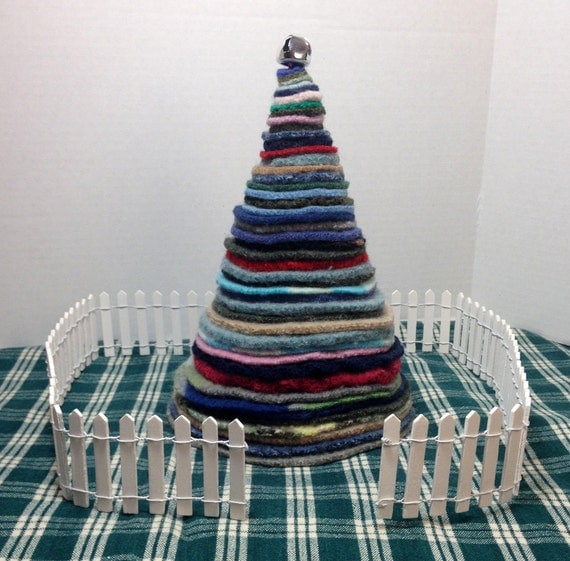 Items Similar To Upcycled Wool Holiday Tree Home Decor, 9