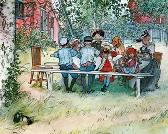 Family Picnic Fabric - Lunch on the Verandah - Carl Larsson Repro