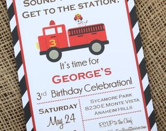 Firetruck Truck Birthday Invitation DIY Custom