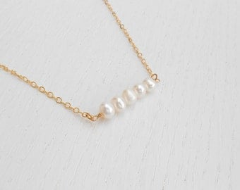 Summer SALE - Pearl bar necklace, Delicate pearl necklace, June birthstone necklace