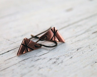 Minimal Tribal Jewelry, Recycled Copper Native Drop Earrings