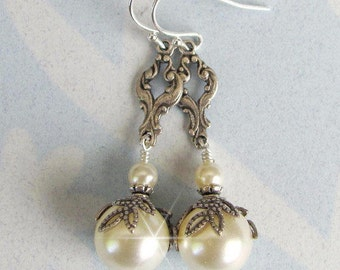 Ivory Pearl Vintage Style Bridal Earrings, Ivory Pearl Wedding Earrings, Antique Style, Silver, in  White, Ivory, Pearl Drop Wedding Jewelry