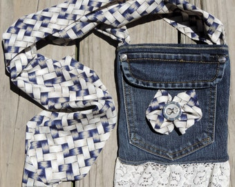 Small Blue Denim Lined Cross Body Purse/Bag, Upcycled/Recycled from Jean Pockets, Perfect for Dog Walks, Amusement Parks, Wine Tours, etc.