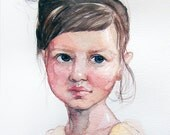 Watercolor portrait of a Girl with yellow top. Custom portraits. Original watercolor only. Portrait painting. Birthday gift idea.