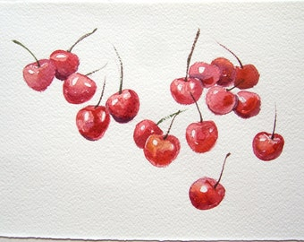 Watercolor painting original. Cherry painting. Small watercolor paint by hand. Original art only. Fruits art. Nursery art. Kitchen decor.