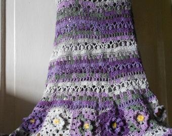 Сrochet Skirt Maxi Skirt Long Skirt Gypsy Skirt Cotton Skirt Wild Flowers  FREE SHIPPING
