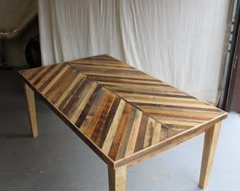 Reclaimed Pallet and Barn Wood Dining Table with Tapered Wooden Legs - Chevron Pattern
