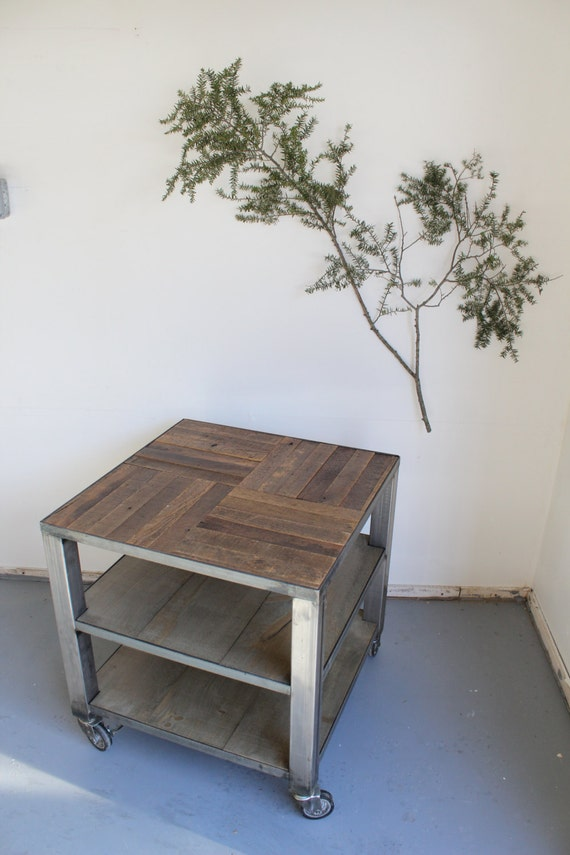 Industrial Rustic Reclaimed Barn Wood Coffee Table Steel Metal Base on Casters - - Crux Pattern top