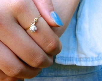 Crystal Charm Midi or Regular Ring - gold or silver
