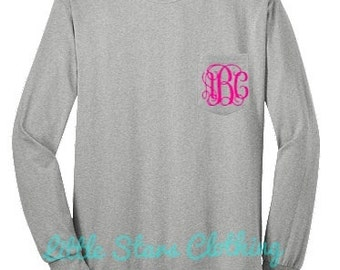 LONG SLEEVE Monogrammed Pocket Tee Available in sizes Small-4XLarge
