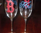 """Mr. & Mrs. Red Sox """"B"""" champagne flute"""