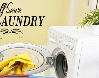 Wall Quotes Self Serve Laundry Room Wall Sticker Wall Decal Quote (B3)