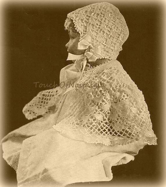 Crochet BABY CAPE/Bonnet Antique Crochet by touchofnostalgia7