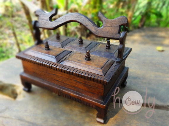 Hand Carved Reclaimed Wooden Teak Jewelry Box Teak Jewelry