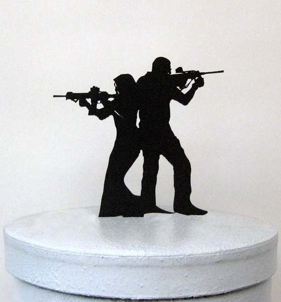 Wedding Cake Topper Rifle Gun Wedding Armed Couple