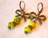 Bow Earrings - Woodland - Shabby Chic -Green - Antique Brass - Vintage - Gift For Her