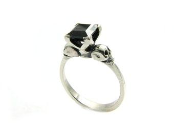 skull black goth sterling wedding ring square black spinel skull ring psychobilly engagement black gemstone ring - Skull Wedding Ring