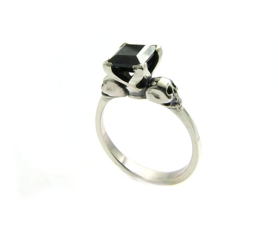 Womans Skull Ring Size 4.25 READY TO SHIP Black Goth Sterling Wedding Ring Square Black Spinel Skull Ring, Psychobilly Engagement