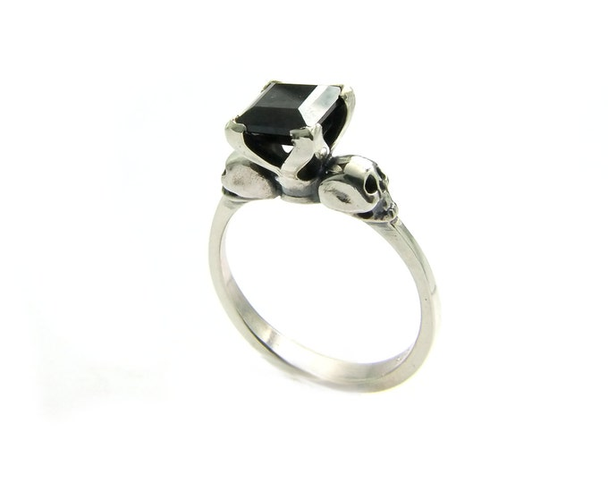 Womans Skull Ring Size 4.25 READY TO SHIP Sterling Ring with Natural Red garnet Gemstone