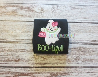 Girls Boo-tiful Appliqued Shirt - Embroidered, Personalized, Monogram, Halloween, Girls Ghost Shirt, Girly Ghost, Halloween, Boo-tiful