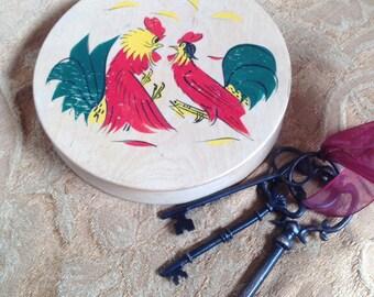 Crazy Chickens - Vintage Hamburger Press - Vintage Rooster Key Hider - Key Holder - Vintage Hide A Key - Key Keeper - Wooden Key Hider