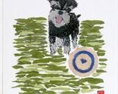 10 % Off Special: Miniature Schnauzer Terrier Art Giclee Print, Newspaper Collage Art,  Nursery Art, Dog Art, Fine Art Print