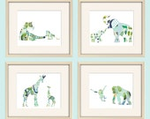 elephant nursery decor, elephant art, safari nursery, elephant print, jungle nursery,baby boy nursery,baby wall decor, baby animal prints