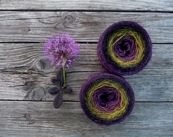 Set of 2 similar balls for socks, mittens knitting - 100% multicolored wool - purple black yellow