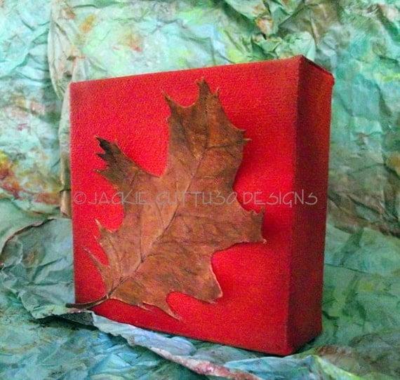 Fall art, Original oak leaf art, Fall decor, Canvas leaf painting, Leaf collage, Leaves, Fall collage, Mini art, Autumn art, Acorn collage