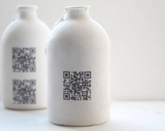 Porcelain bottle. Fine bone china small white bottle with QR code - bud vase