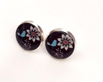 Blue Bird on White Foliage Resin Silver Post Earrings