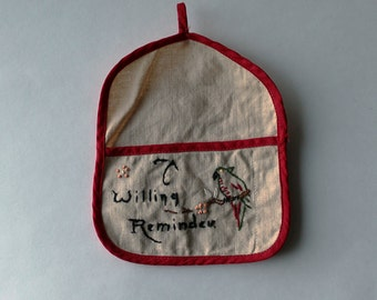 "vintage on sale: sweet small embroidered pouch with parrot that reads ""A Willing Reminder"". vintage embroidery."