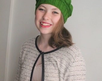 CHRISTMAS GIFT! Women hat, Beanie Hat, Express Shipping, Lucy Meadow Hat, 12 Colours hat. Gift for her. Green cable hat,ready to shipping.