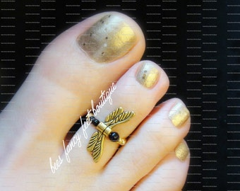 Gold Dragonfly -  Black Beads - Stretch Bead Toe Ring