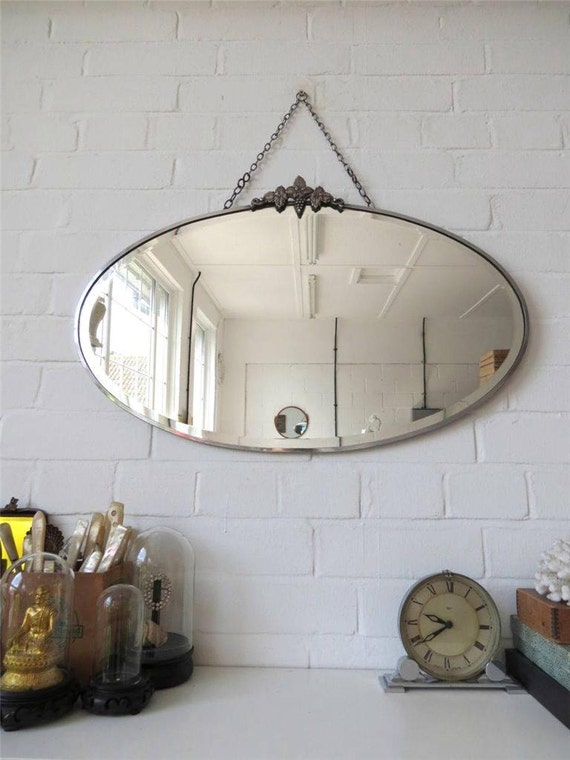 Vintage grand bord biseaut ovale art d co miroir au mur avec for Grand miroir antique