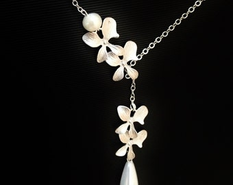 trio orchid flower necklace,wedding-bridal-bridesmaid-bridal shower jewelery,flower necklace,orchid necklace,orchid jewelry,gift