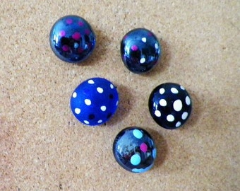 Decorative Pushpins or Magnets-Polka-Dot Glass..Colorful Decor for Office, School or Kitchen, Set of 5. BUY 5 Sets GET the 5th Set FREE!