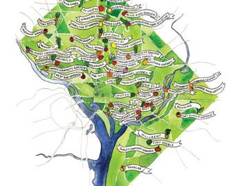 "DC Community Gardens Map - Watercolor Print 9""x12"""
