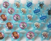 24 Frozen cupcake rings picks or cake toppers, perfect for Disney birthday party or treat bag favors, movie watching party, snowflake winter